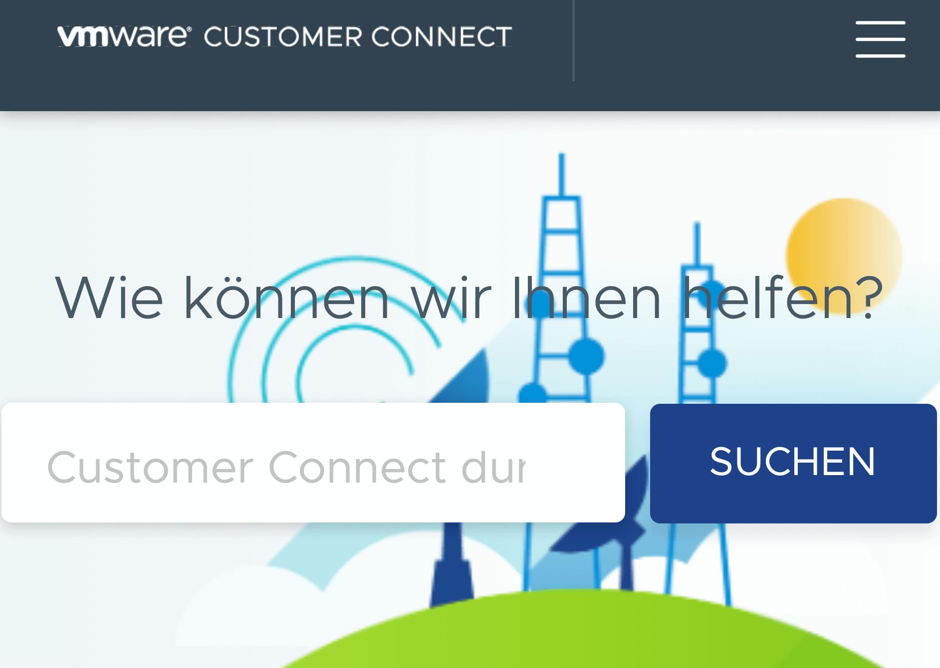 Screenshot von VMware Customer Connect Portal